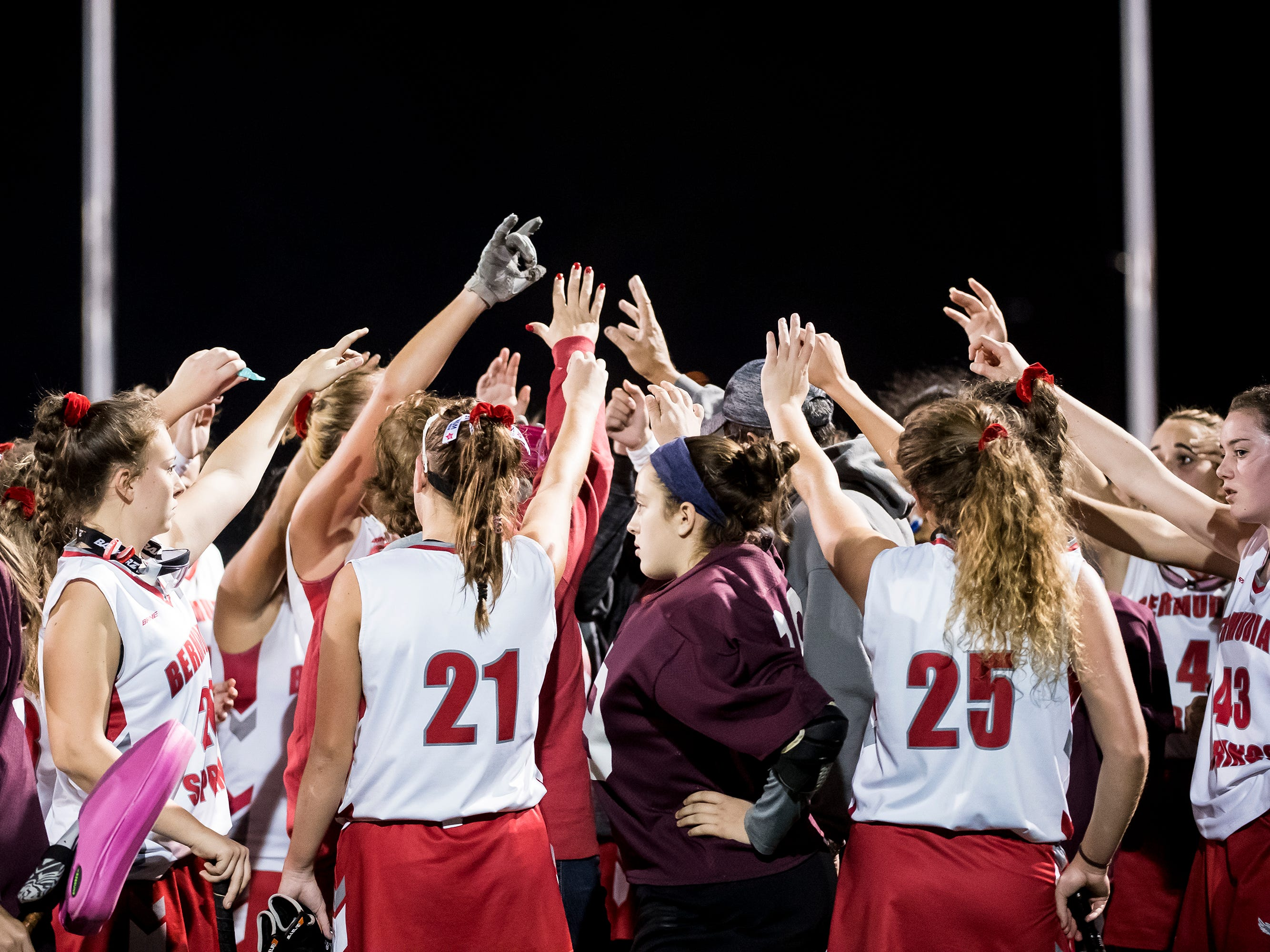 The Bermudian Springs field hockey team comes out of a huddle following their 5-0 loss to Oley Valley in a District III Class A semifinal game at Lower Dauphin Middle School on Wednesday, October 31, 2018.