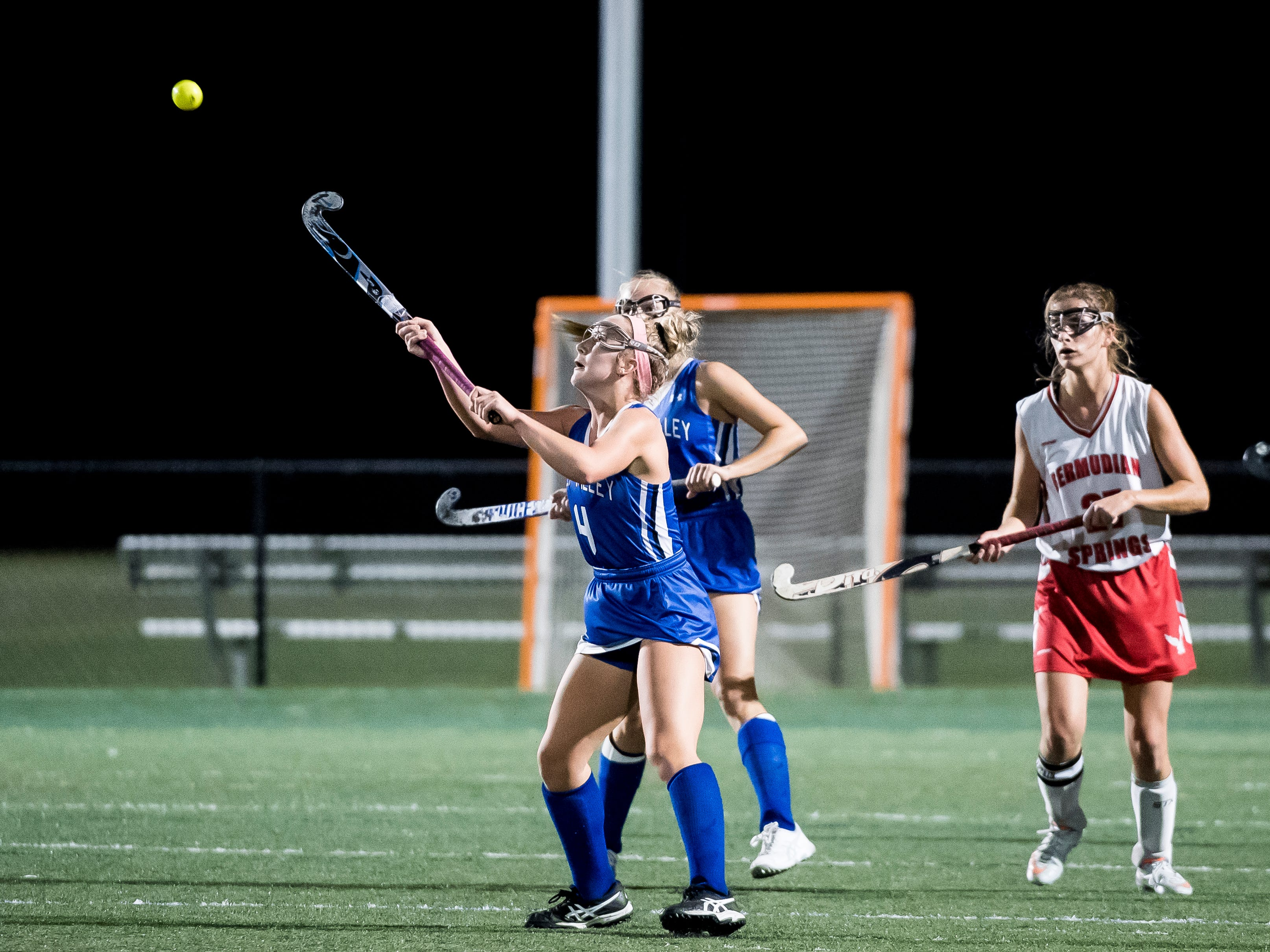 Oley Valley's Sophia Gladieux hits a high ball during a District III Class A semifinal game against Bermudian Springs at Lower Dauphin Middle School on Wednesday, October 31, 2018. The Eagles fell 5-0.