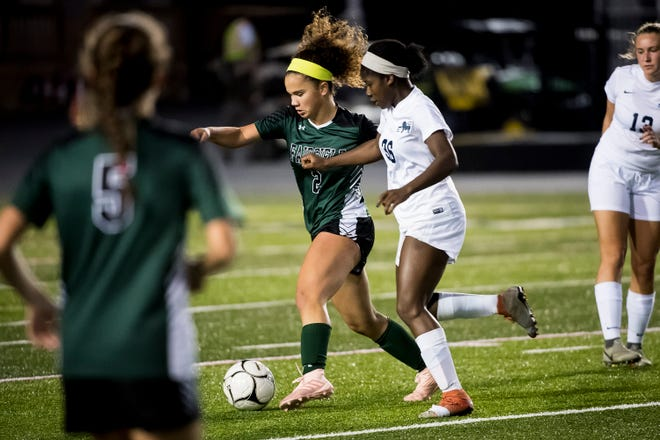 Fairfield's Annabel Anderson (2) controls the ball against Camp Hill's Shelly Williams (36) during the PIAA District III Class A championship game at Hershey Park Stadium on Wednesday, October 31, 2018. The Knights fell 1-0.