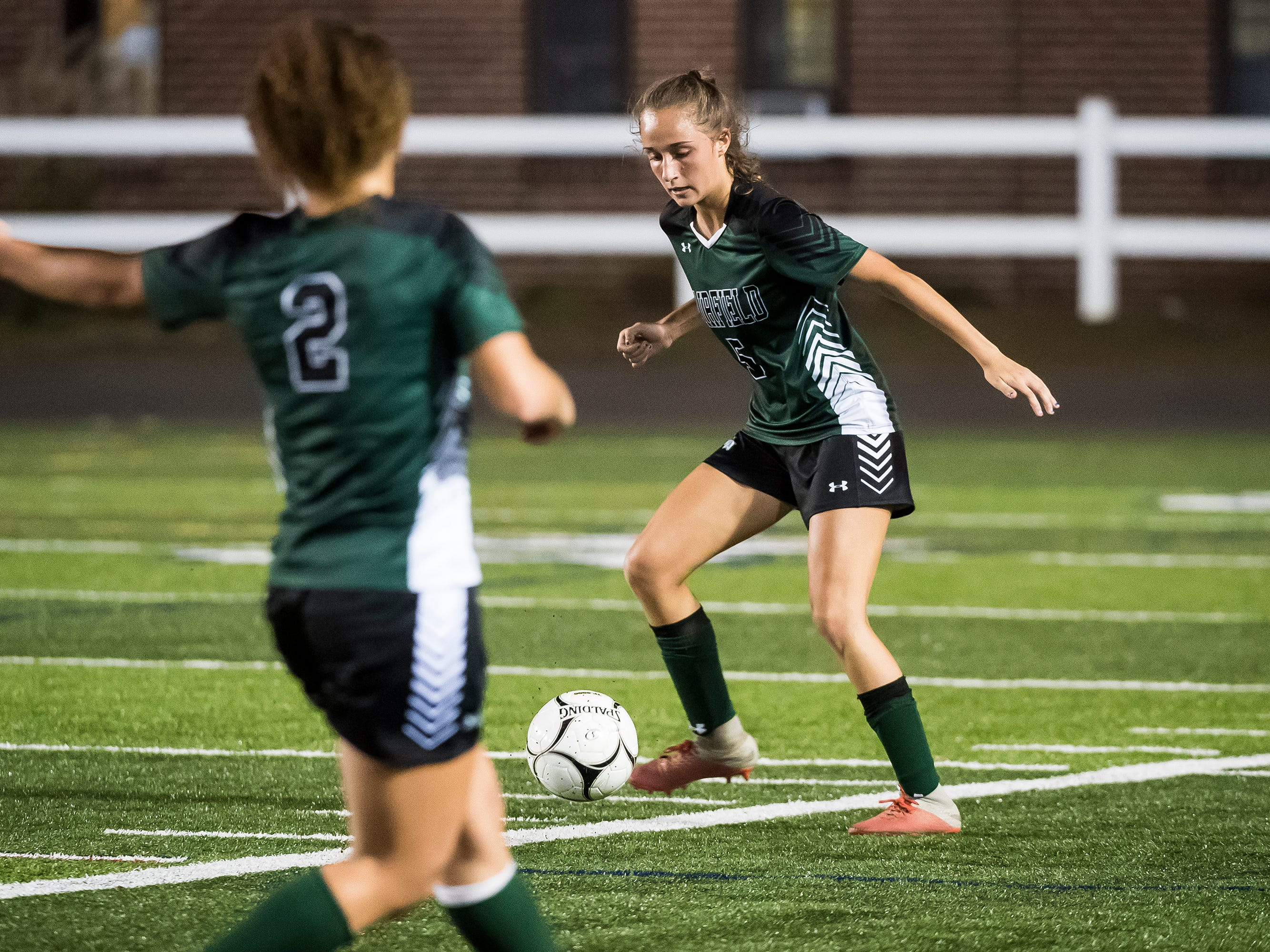 Fairfield's Rio Strosnider controls the ball during the PIAA District III Class A championship game against Camp Hill at Hershey Park Stadium on Wednesday, October 31, 2018. The Knights fell 1-0.