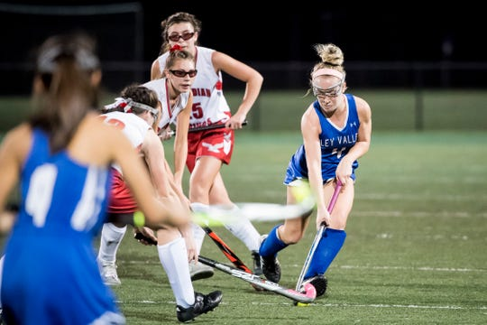 Oley Valley's Sophia Gladieux controls the ball during a District III Class A semifinal game against Bermudian Springs at Lower Dauphin Middle School on Wednesday, October 31, 2018. Gladieux scored 3 goals as the Eagles fell 5-0.