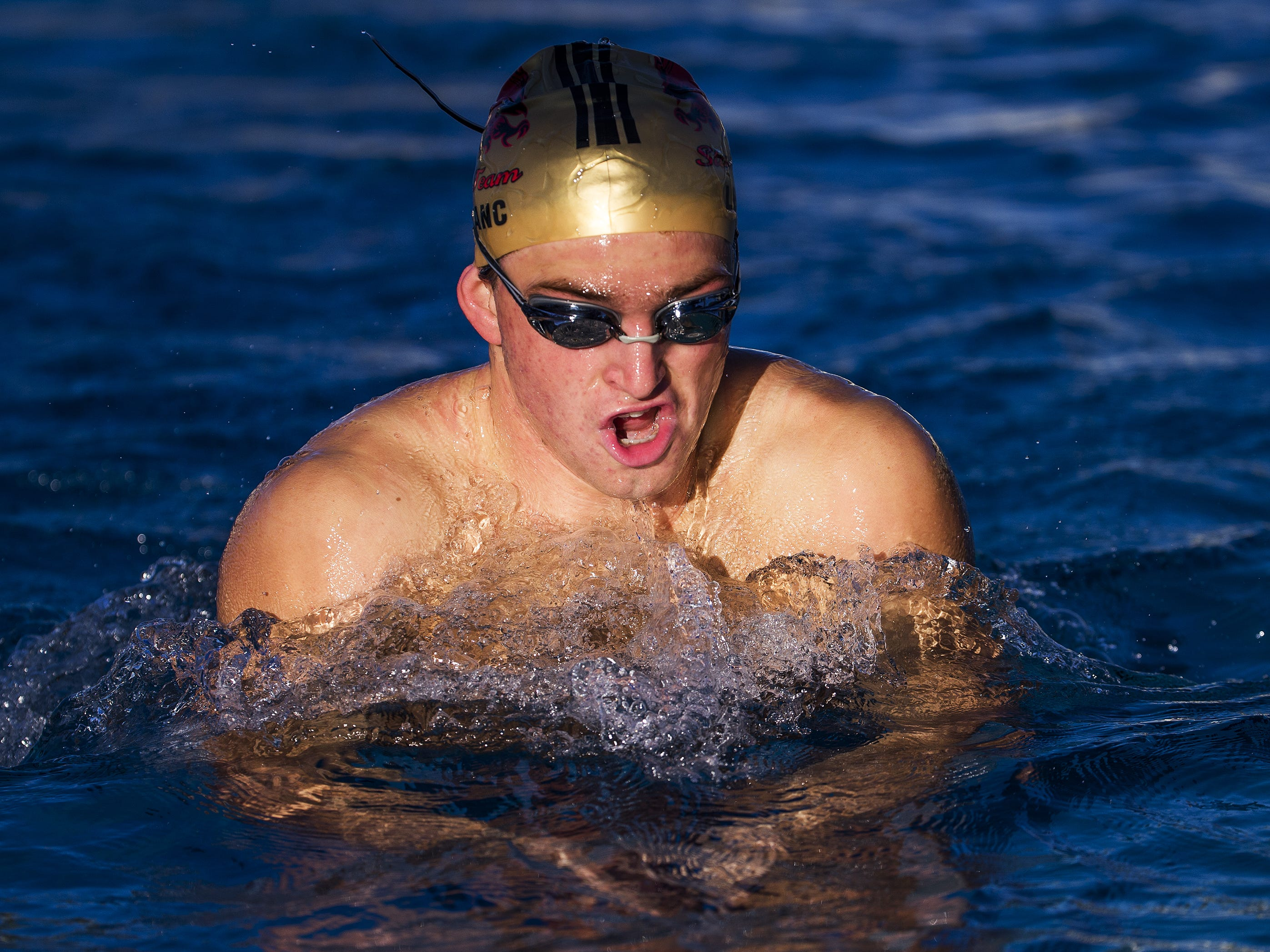 Chaparral High School swimmer Matthew Leblanc practices with the team at Cactus Aquatics and Fitness Center, Wednesday, October 31, 2018.