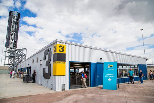 The new fan interactive garage area will attract fans who want to get close to drivers and their cars at ISM Raceway in Phoenix.  Final touches are being completed in the massive renovation of the former Phoenix International Raceway, Wednesday, October 3, 2018.