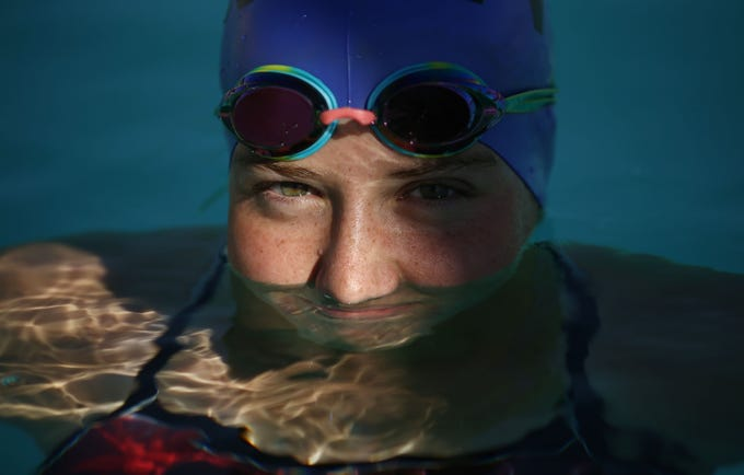 Valley Vista High swimmer Lily Bishop on Oct. 30, 2018 at Surprise Aquatics Center. Lily Bishop was born with a heart condition she has had two open heart surgeries and has qualified for state.