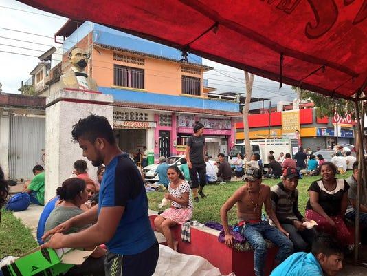 Migrant caravan in Huixtla, Chiapas México
