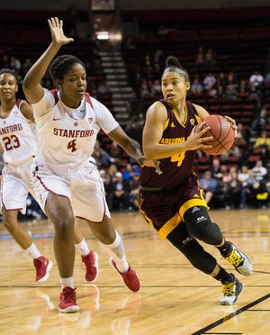 Mar 3, 2018; Seattle, WA, USA; Arizona State Sun Devils guard Kiara Russell (4) drives to the basket as  Stanford Cardinal forward Nadia Fingall (4) guards her during the first half during the semifinals of the PAC-12 Women's Basketball Tournament at KeyArena. Mandatory Credit: Troy Wayrynen-USA TODAY Sports