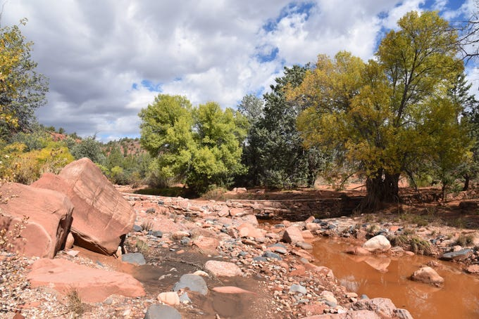 Pools of water linger in Dry Creek