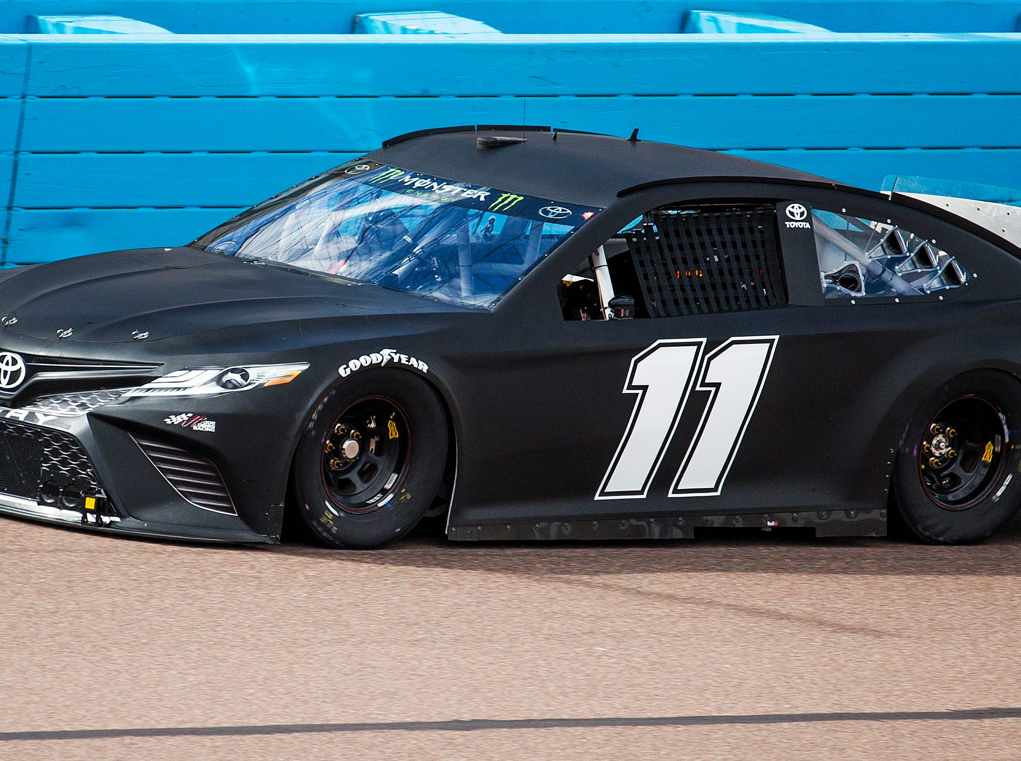 Denny Hamlin tests his tires on the track at ISM Raceway in Phoenix . Final touches are being made in the massive renovation of the former Phoenix International Raceway, Wednesday, October 3, 2018.