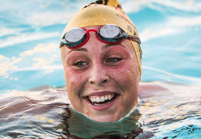 Chaparral High School swimmer Ashley Strouse practices with the team at Cactus Aquatics and Fitness Center, Wednesday, October 31, 2018.