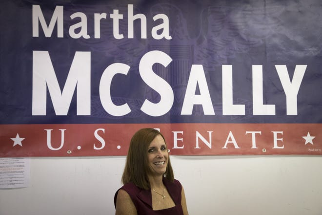 Senate candidate and U.S. Rep. Martha McSally, R-Ariz., speaks Nov. 1, 2018, during a Get Out the Vote rally at the Arizona GOP's West Valley office at 10050 W Bell Road.