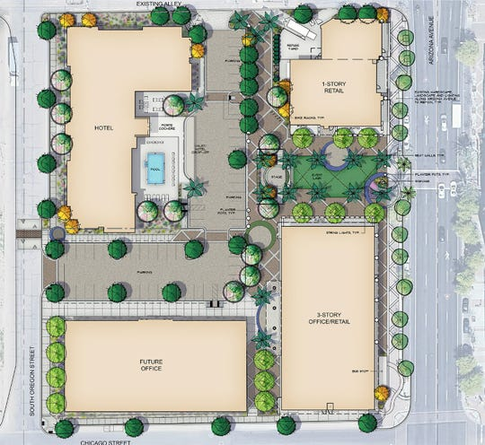 Developer Spike Lawrence Ventures plans to develop a vacant lot across the street from Chandler City Hall into a mixed-use space featuring a hotel and office and restaurant space.
