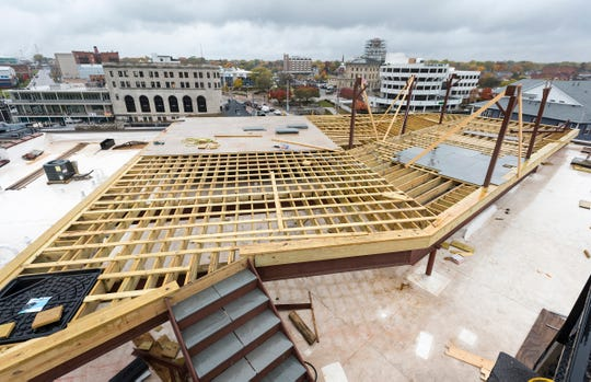 A rooftop patio is being constructed for residents on the roof of the Ballentine building in Port Huron. The patio will include a water feature and gas fireplaces.