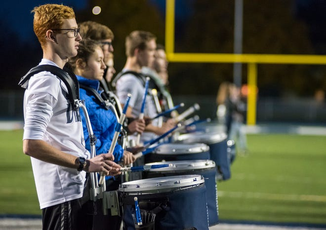 The Marysville Viking Regiment drumline practices the end of their show Thursday, Nov. 1, 2018 during practice at Marysville High School.