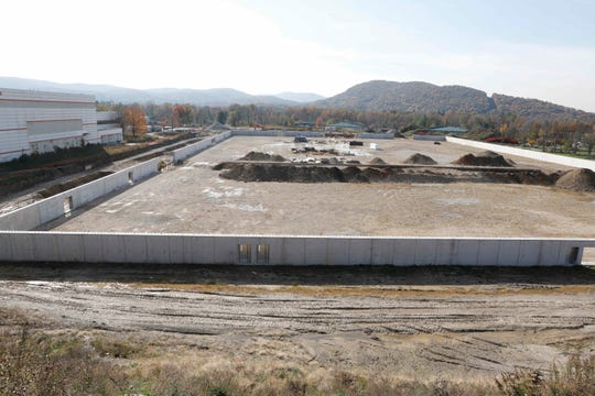 The outer wall and foundation of the Sports KingDome in East Fishkill is seen on Oct. 31.