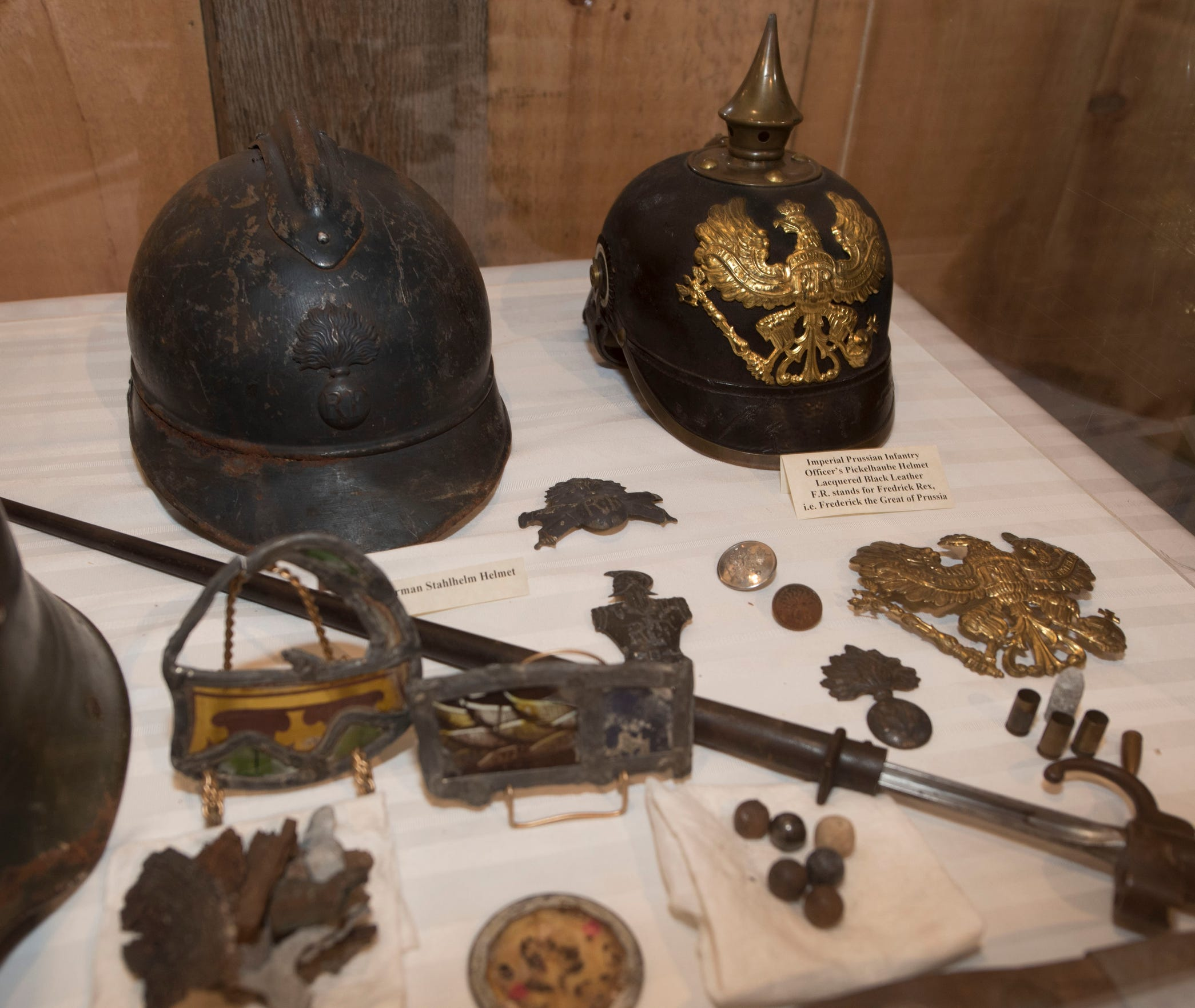 WWI helmets are on display. A World War I exhibit is on display at Antrim Allison Museum, 365 S. Ridge Avenue, Greencastle.