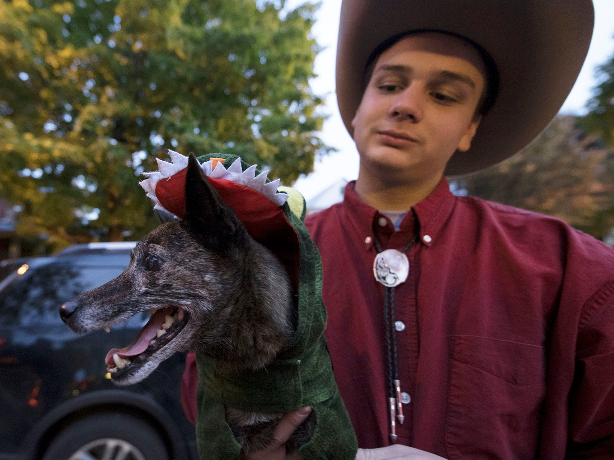 Andrew Prince's dog, Darcy, wears the croc costume. Bob and Sarah Prince hosted their annual Halloween Haunted House at 47 Fifth Avenue, Chambersburg, do the delight of trick-or-treaters.