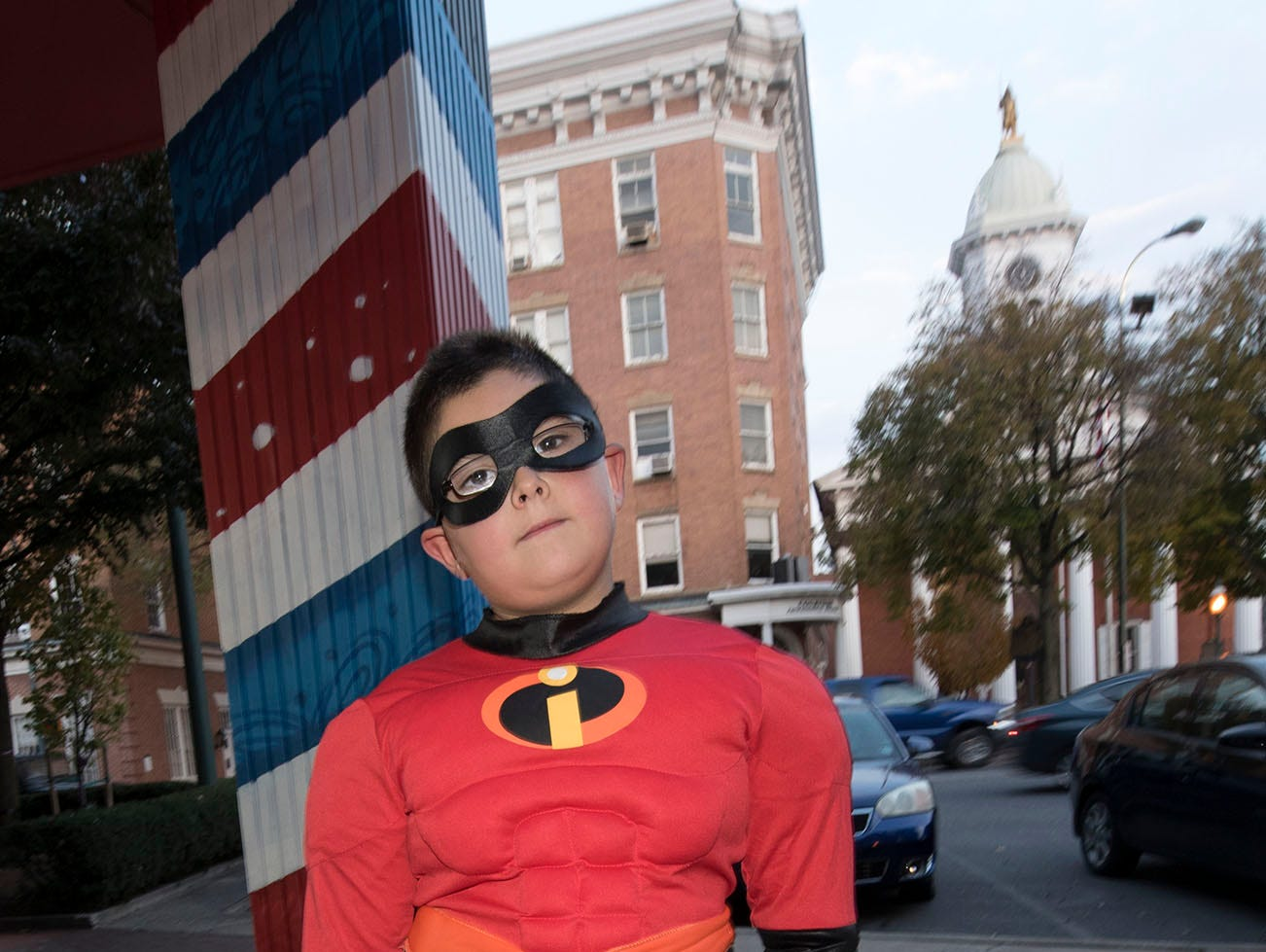 Jack Killinger, 7, is quite incredible as he walks through downtown, Wednesday night.