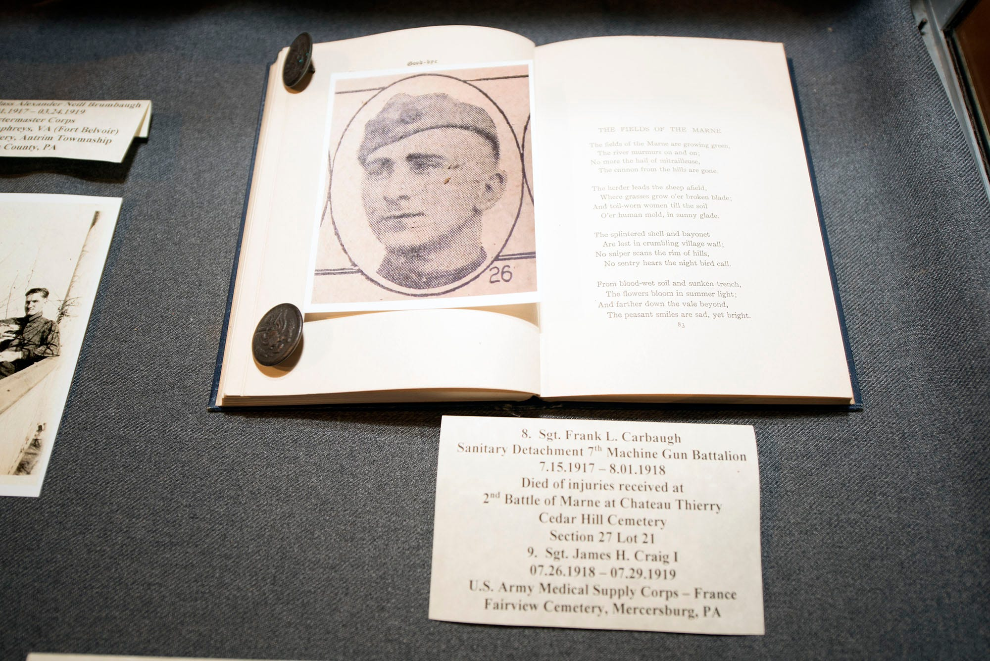 Sgt. Frank L. Carbaugh is featured in a book of letters. A World War I exhibit is on display at Antrim Allison Museum, 365 S. Ridge Avenue, Greencastle.