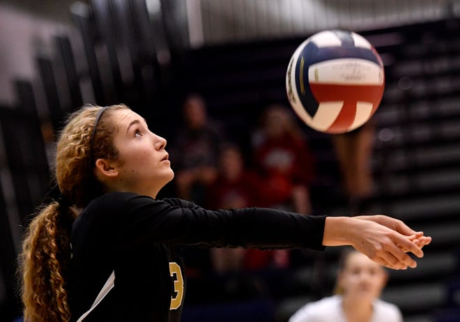 Delone Catholic libero Lauren Trummer is shown here in a file photo. The Squirettes survived for a 3-2 win over Central Cambria on Tuesday night. DISPATCH FILE PHOTO