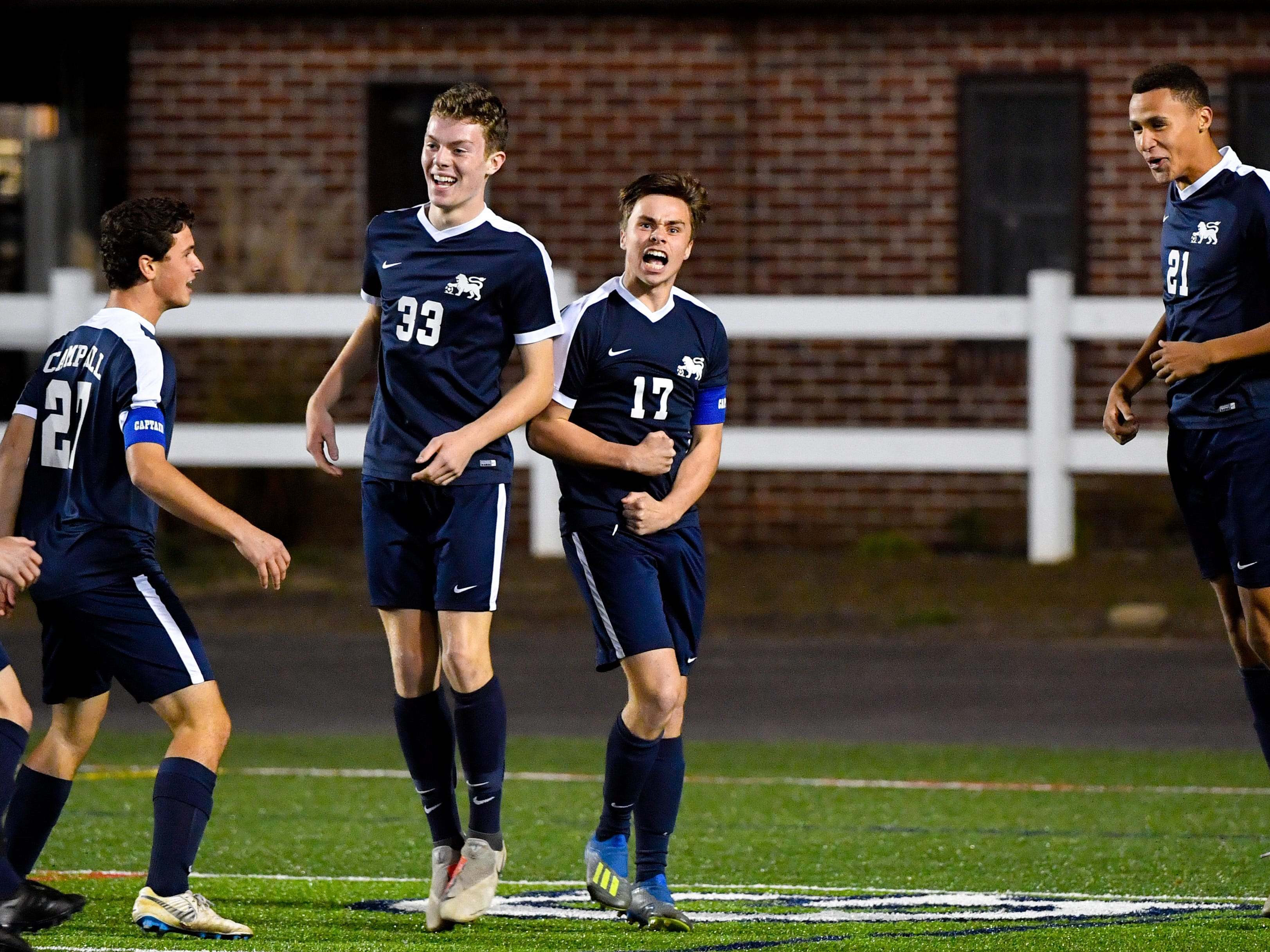 Camp Hill scores a goal early in the first half during the District 3 Class 1A boys' soccer finals between York Catholic and Camp Hill at Hersheypark Stadium, October 31, 2018. The Lions beat the Fighting Irish 2-0.