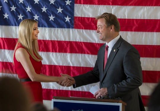 Ivanka Trump and Senator Dean Heller meet with Heller campaign volunteers at the RNC field office in Reno, Thursday, Nov. 1, 2018.