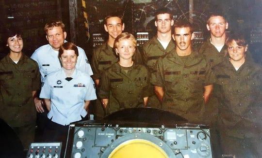 Barbara Harris (center) and her Oregon National Guard unit.