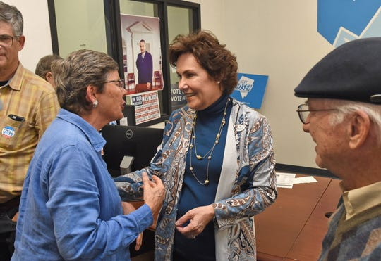 Ren. Jacky Rosen talks with supporters who are getting ready to go out and knock on doors in Sparks on Nov. 1, 2018.