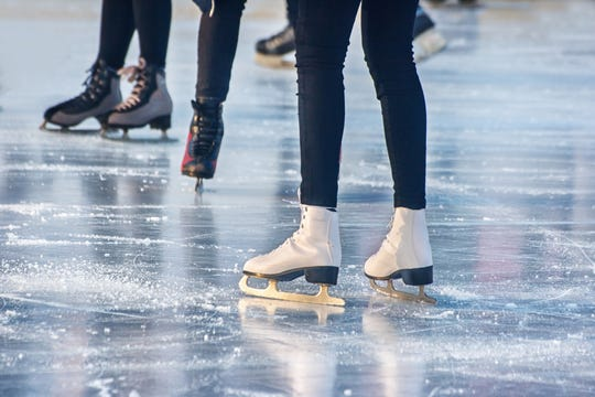 An outdoor ice skating rink.