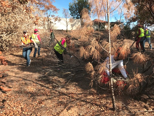 Students from the Bethel School of Supernatural Ministry work alongside city of Redding parks employees Oct. 26 to remove dead trees and brush from a hillside at Kil Dara Ridge in the Mary Lake subdivision. The brush removal project will lessen the fire danger at the west Redding residential area where homes burned in the Carr Fire.