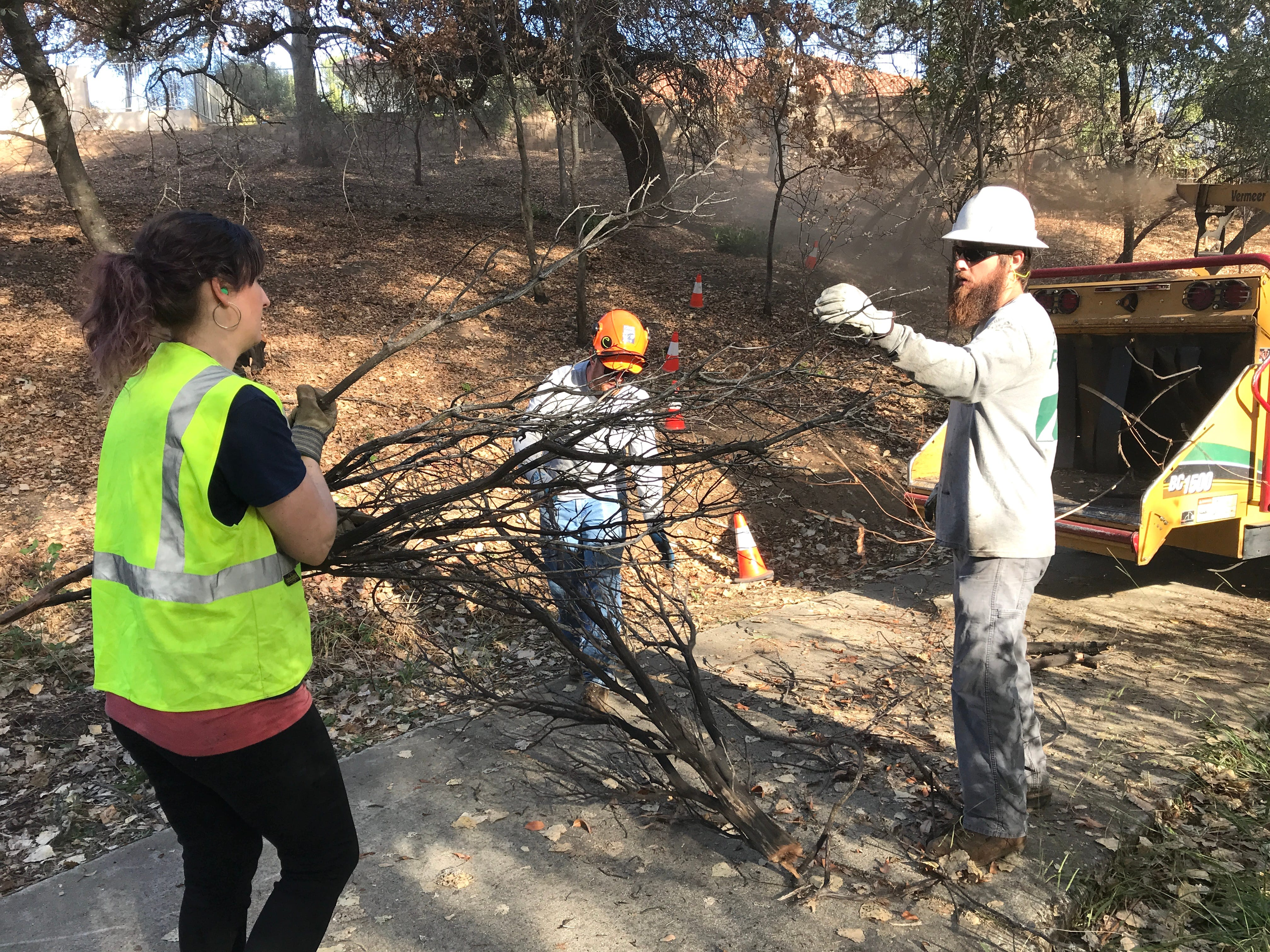 A Bethel student hands brush to a city of Redding parks employee so he can put it in a chipper. The work was being done Oct. 26 to make the Mary Lake subdivision more fire safe.