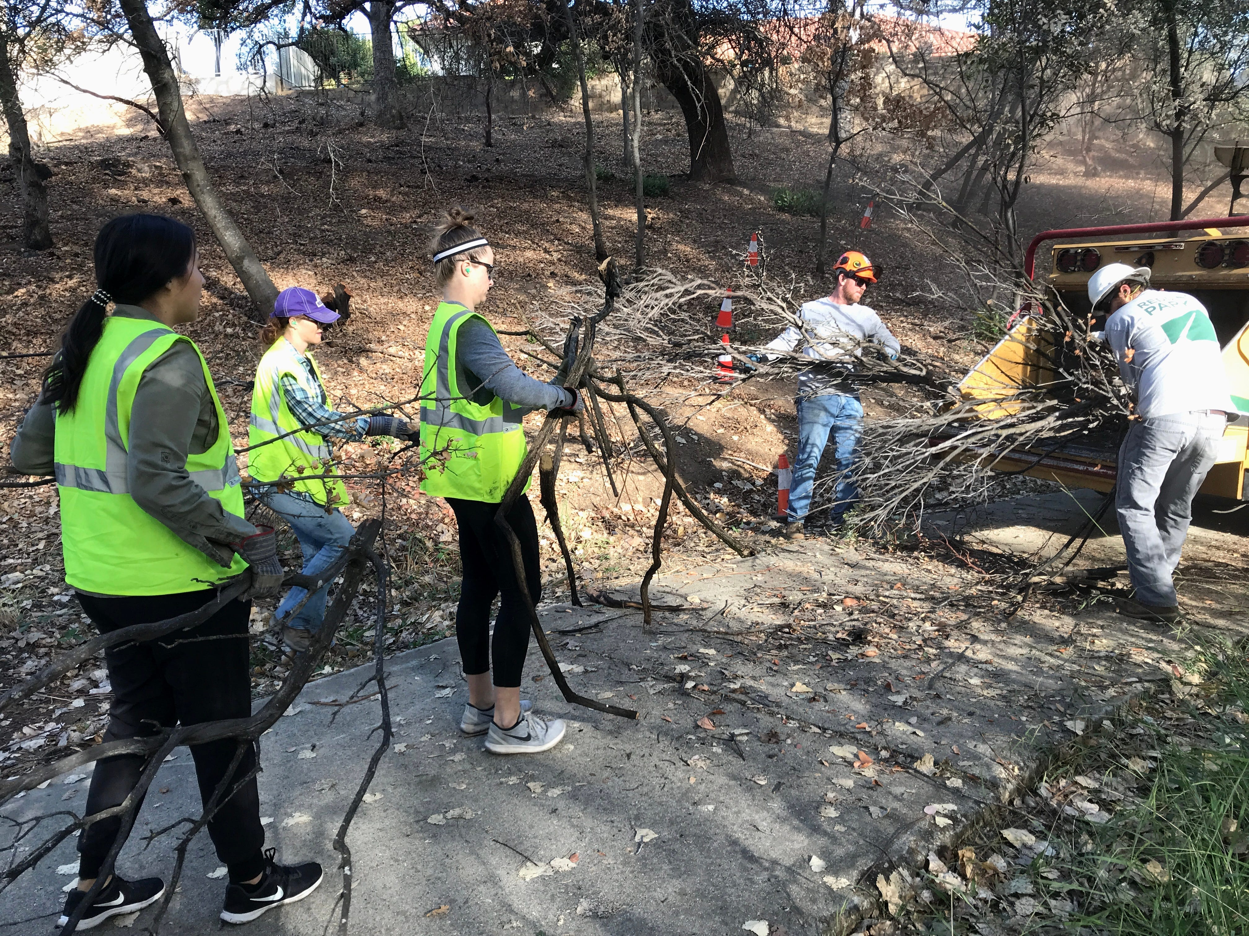 Students from Bethel Church's School of Supernatural Ministry carry branches and brush to a city of Redding parks crew in the Mary Lake subdivision Oct. 26. The students were helping to make the hillsides fire-safe in the landscape cleanup project.