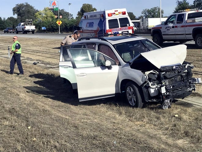 An SUV and three other vehicles crashed Thursday morning on southbound Interstate 5 near Knighton Road. No one was injured but the collision caused traffic slowdowns in both freeway directions.