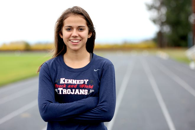 Kennedy High School senior Alejandra Lopez poses for a portrait on Wednesday, Oct. 31, in Mt. Angel. Lopez has the top time in Class 2A heading into the 3A/2A/1A girls state cross country meet Saturday at Lane Community College in Eugene.