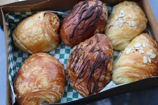 Three types of croissants at Croissant & Company on opening day, Nov. 1, 2018.