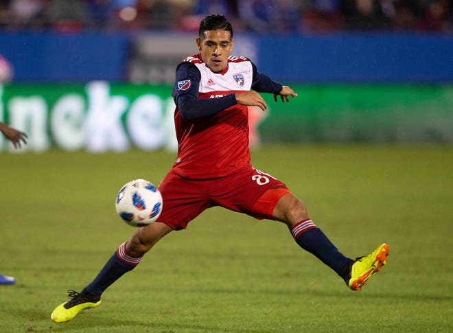 Oct 31, 2018; Frisco, TX, USA;  FC Dallas midfielder Victor Ulloa (8) attempts to block a pass in the first half against the Portland Timbers at Toyota Stadium. Mandatory Credit: Tim Heitman-USA TODAY Sports