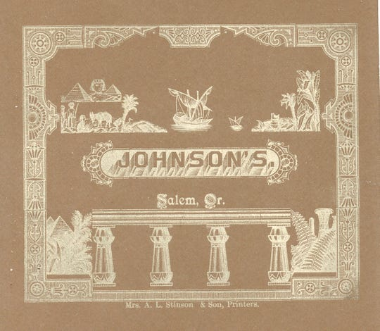 The back of this cabinet card features an ornate logo printed by Mrs. A.L. Stinson & Son.
