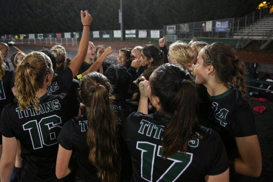 West Salem Celebrates after a 2-1 win against Summit during the OSAA girls soccer playoffs on Wednesday, Oct. 31, 2018, at West Salem High School.