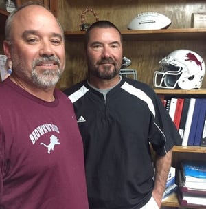 Brownwood head coach Sammy Burnett (left) and assistant coach David Jones both played football at Brownwood for Gordon Wood and Randy Allen, two of the state's top four all-time winningest coaches.