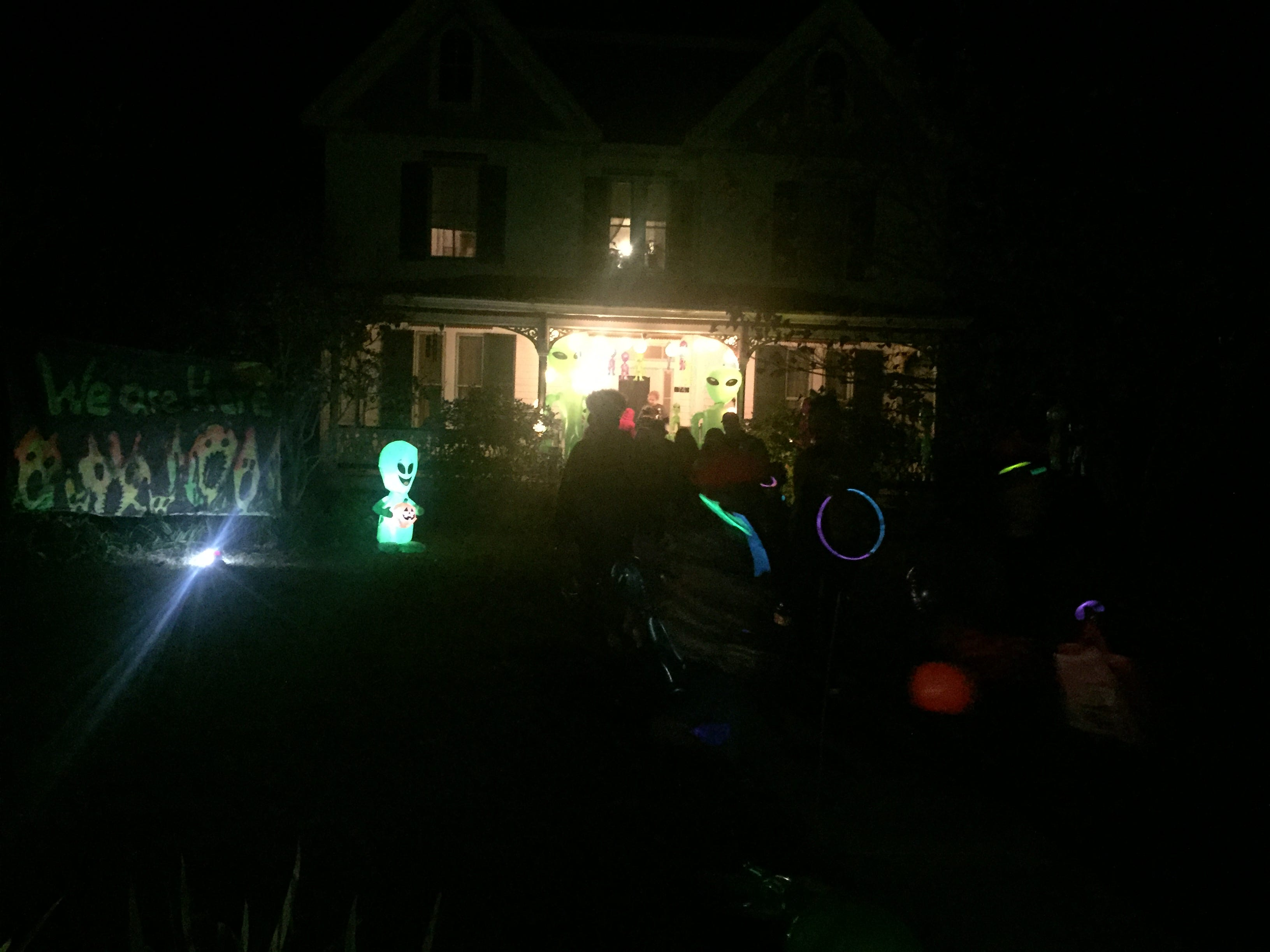 A house on Market Street in Onancock, Virginia that was decorated with an alien theme was a popular stop for trick-or-treaters on Wednesday, Oct. 31, 2018.