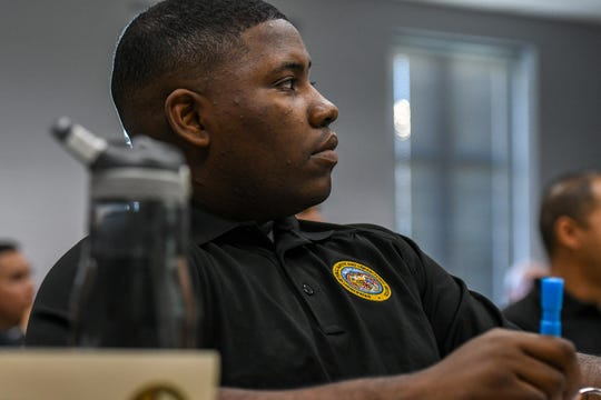 Correctional officer recruit Jerald Kollock listens to instruction as part of his training at Wor-Wic community college on Thursday, Nov 1, 2018.