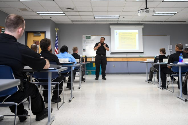 Lt. Kenny Rodgers teaches recruits, including those training to be correctional officers, at Wor-Wic community college on Thursday, Nov 1, 2018.