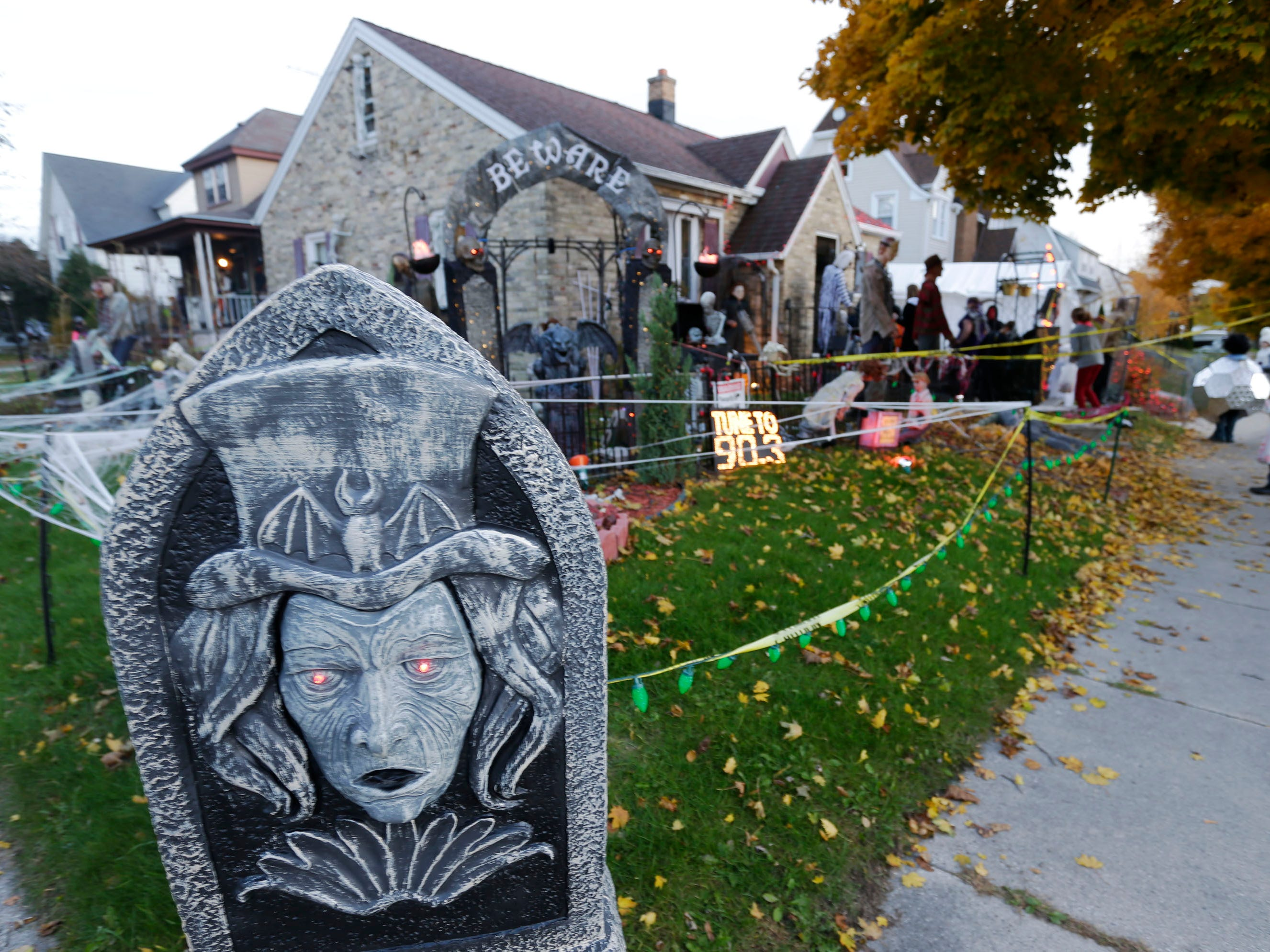 A home decorated at 9th and Humboldt was ready to scare during Trick or Treat, Wednesday, October 31, 2018, in Sheboygan, Wis.