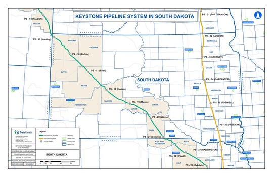 The Keystone XL pipeline route runs diagonally across South Dakota from the northwest to the southeast. Nine counties will be affected by the construction, which is expected to begin next summer.