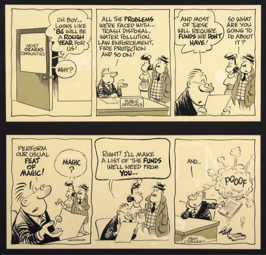 Springfield Art Museum added 31 originals to its existing collection of 1,022 Bob Palmer cartoons in 2018. Palmer was an editorial cartoonist for Springfield Newspapers Inc., retiring in 1991 from the News-Leader.