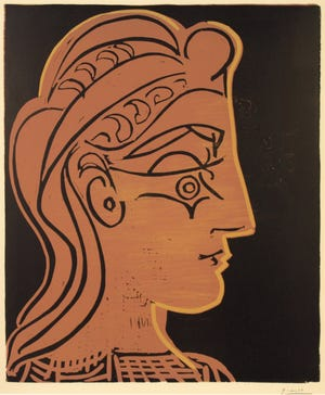 "This Pablo Picasso linocut was among 98 works of art added to the museum's permanent collection in 2018, the museum's 90th year. ""Head of a Woman in Profile (Tête de femme de profil),"" 1959, linocut in three colors. Gift of John Cooper. Collection of the Springfield Art Museum. Copyright Springfield Art Museum."