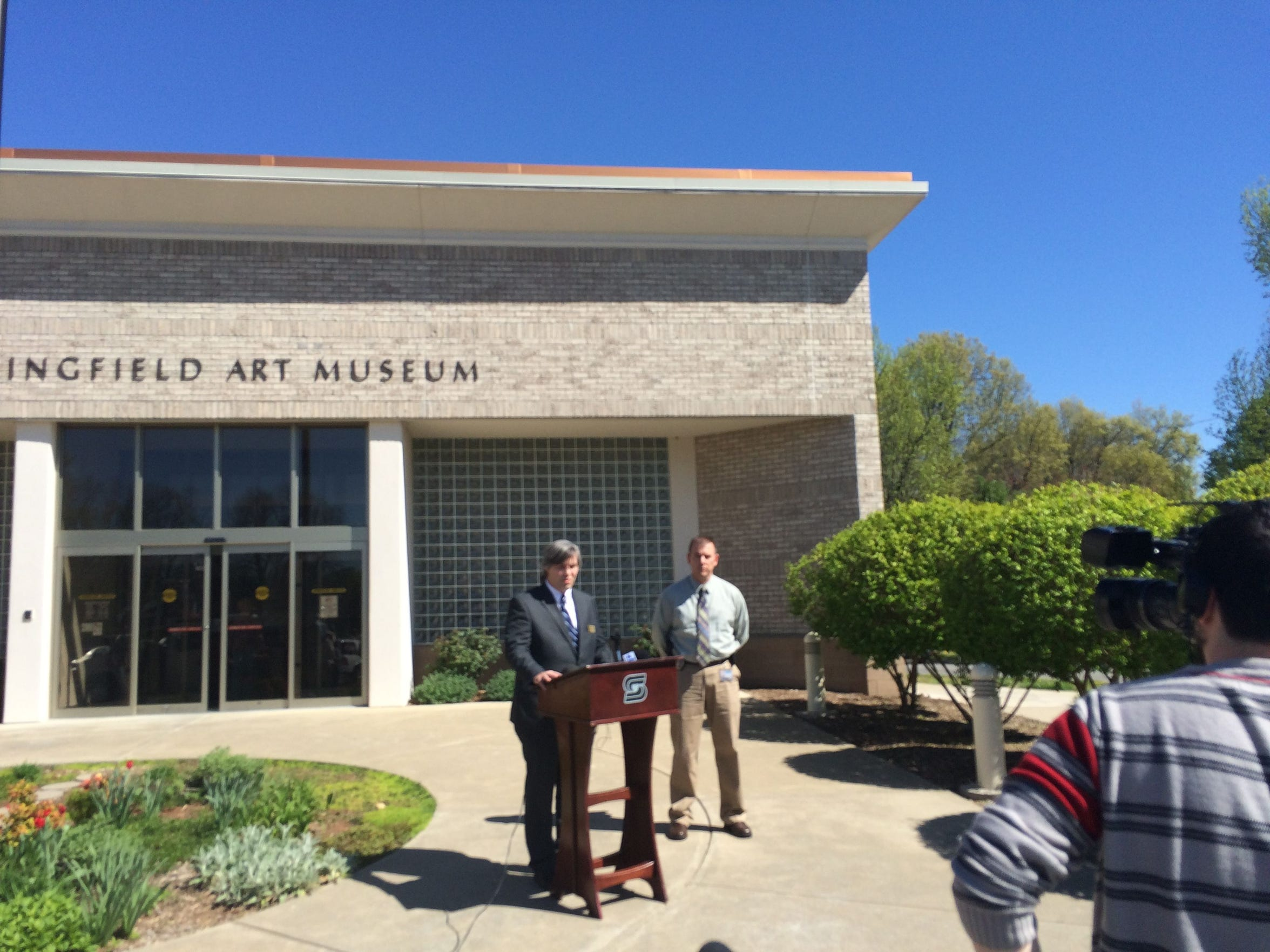 Museum Director Nick Nelson talks about the Andy Warhol theft at a press conference outside Springfield Art Museum a few days after the crime.