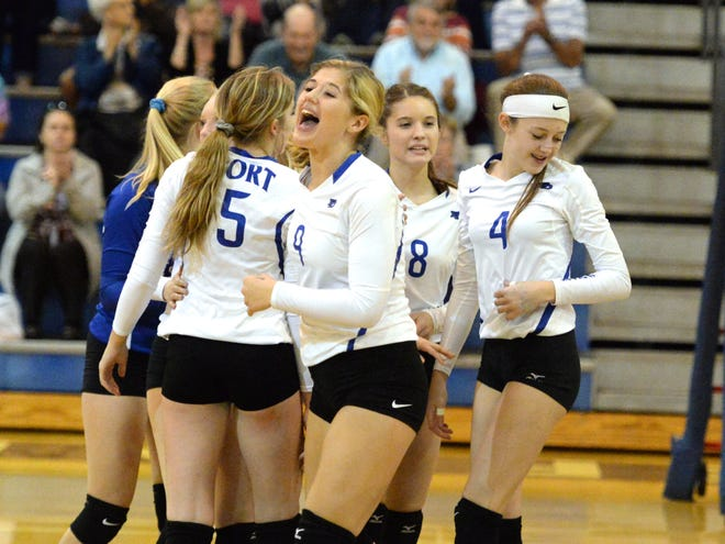 Fort Defiance players celebrate a point Wednesday during a win over Brookville.