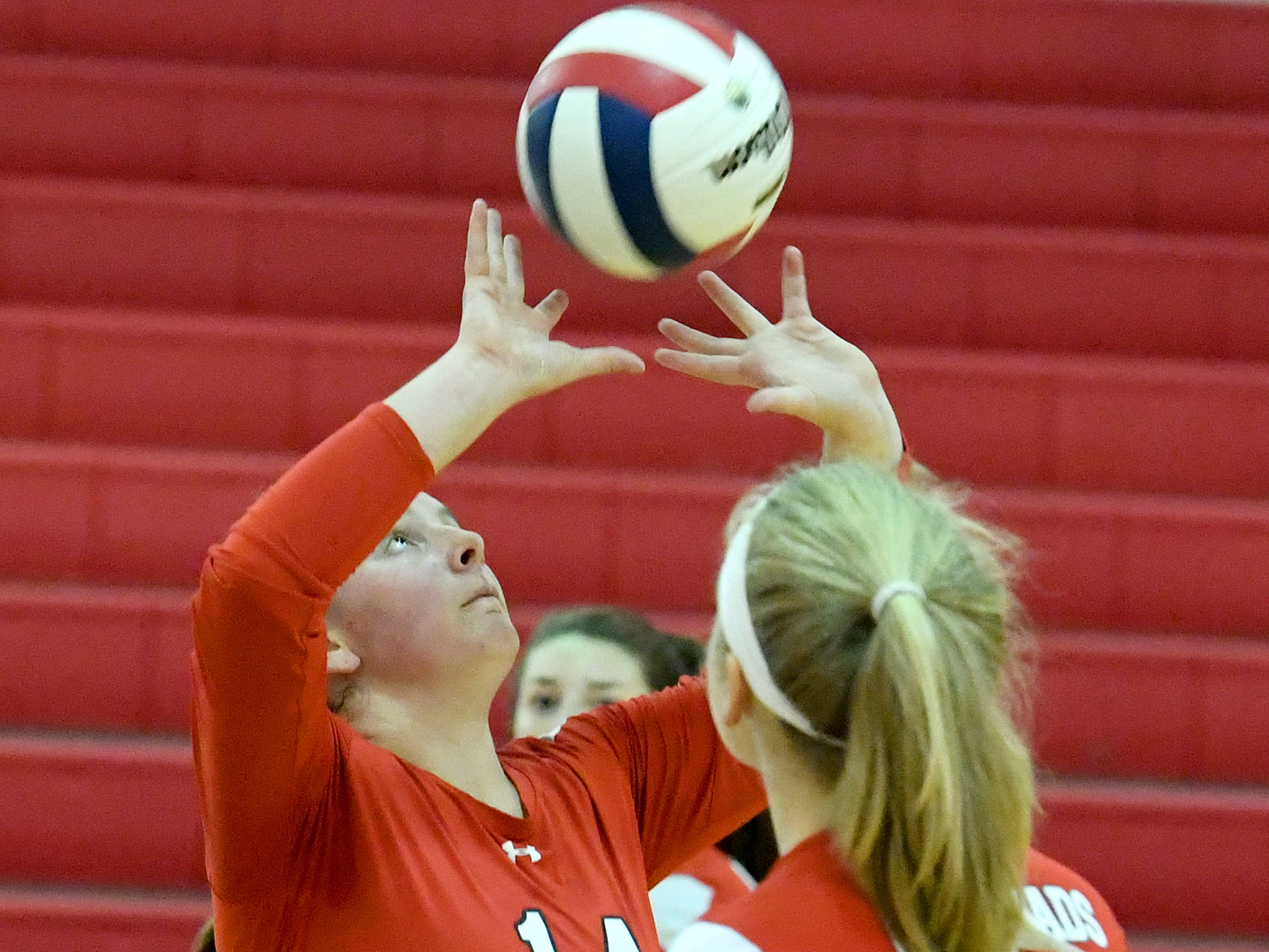 Riverheads' Dayton Moore sets the ball during a Region 1B quarterfinal match, played in Greenville on Thursday, Nov. 1, 2018.