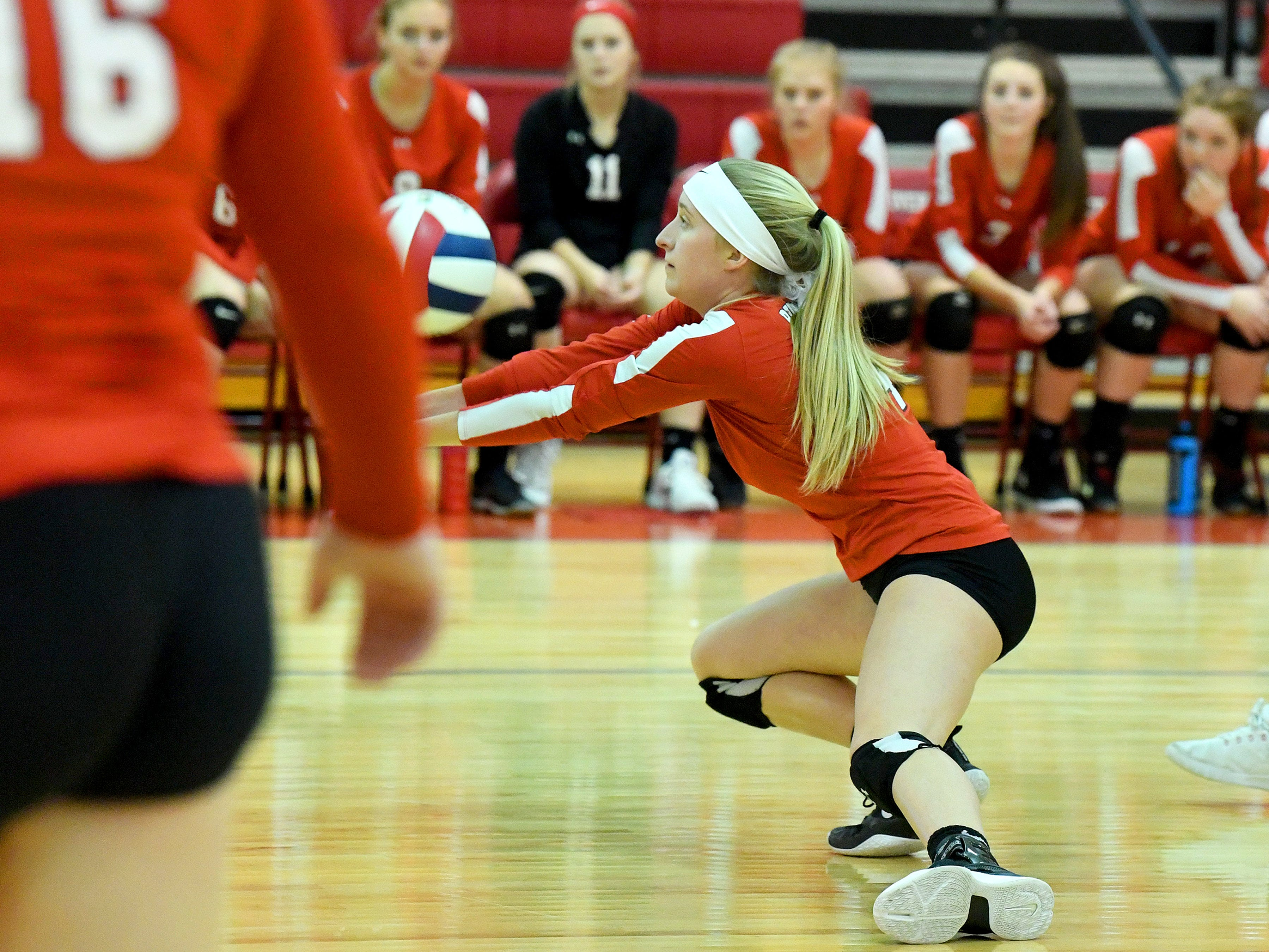 Riverheads' Emma Tomlinson bumps the ball during a Region 1B quarterfinal match, played in Greenville on Thursday, Nov. 1, 2018.