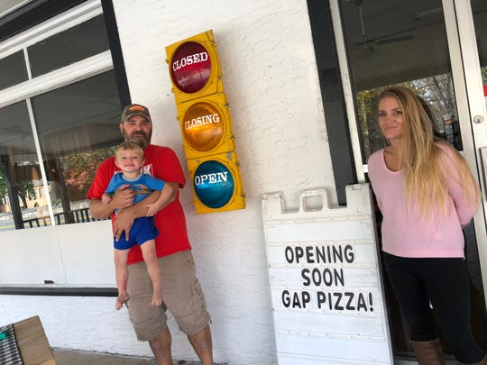 Jason Shahan, with son Konor, age 2, and fianceé Diane Plecker who own Gap Pizza in Churchville in the former T. Bone Tooters location at 3790 Churchville Ave.